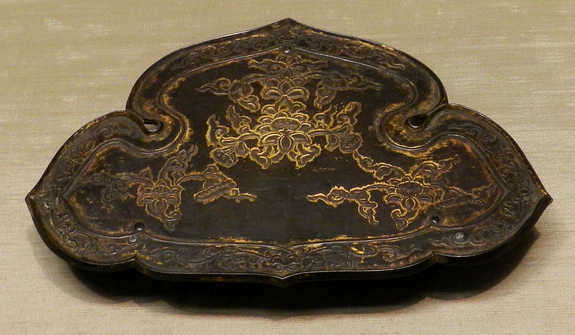 Heian period gilt bronze implement stand.