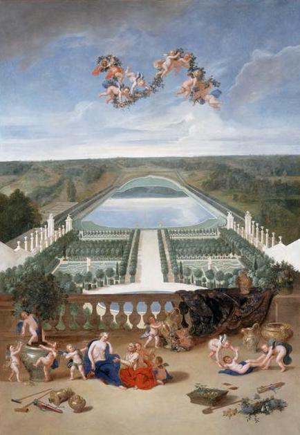 Vue de l'Orangerie et du château à partir de la pièce d'eau des Suisses
